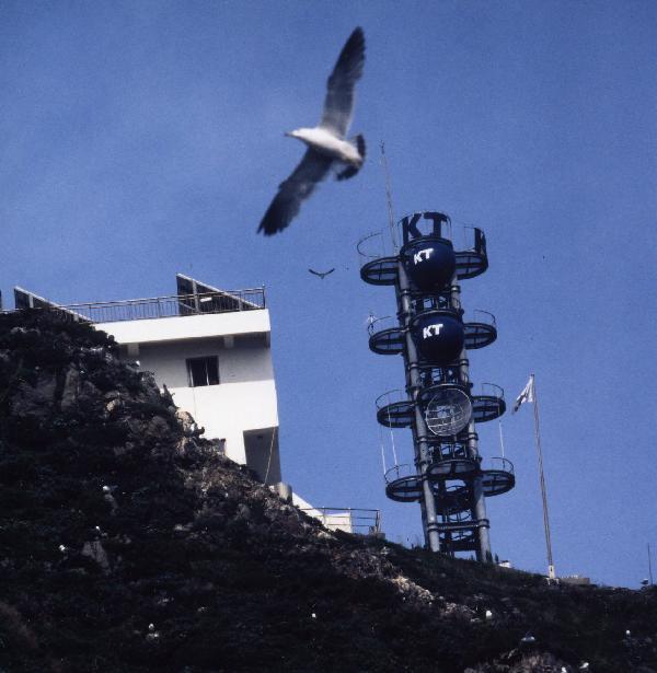 地球の島めぐり_韓国_鬱陵島_頂上には通信衛星と韓国旗